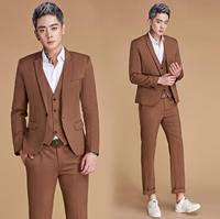 Singer star style dance stage clothing for men brown suit set with pants mens wedding suits costume groom formal dress vest