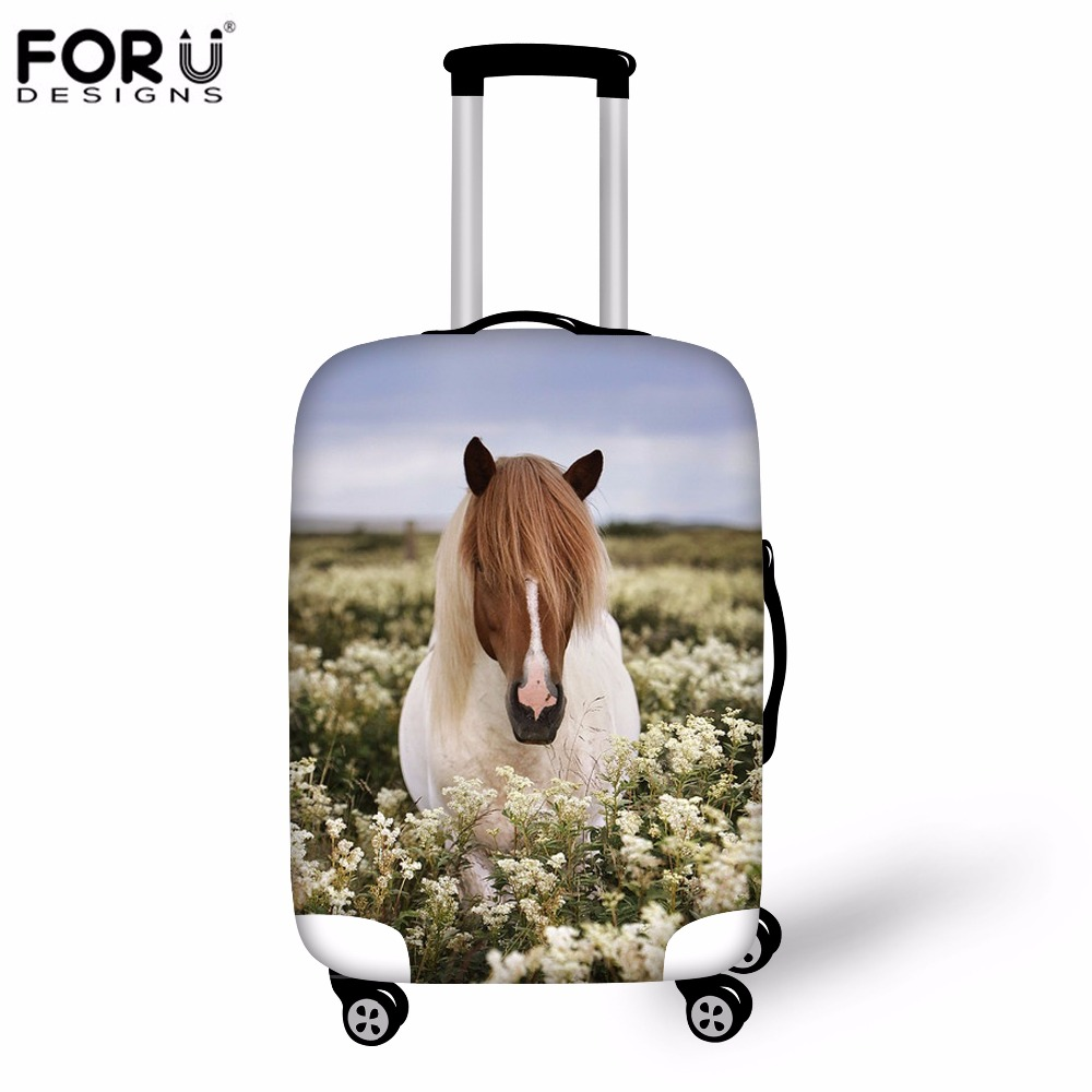 FORUDESIGNS 3D Horse Lion Animal Travel Luggage Protective Covers For 18-30 Inch Trunk Case Trolley Suitcase Cover With Zipper