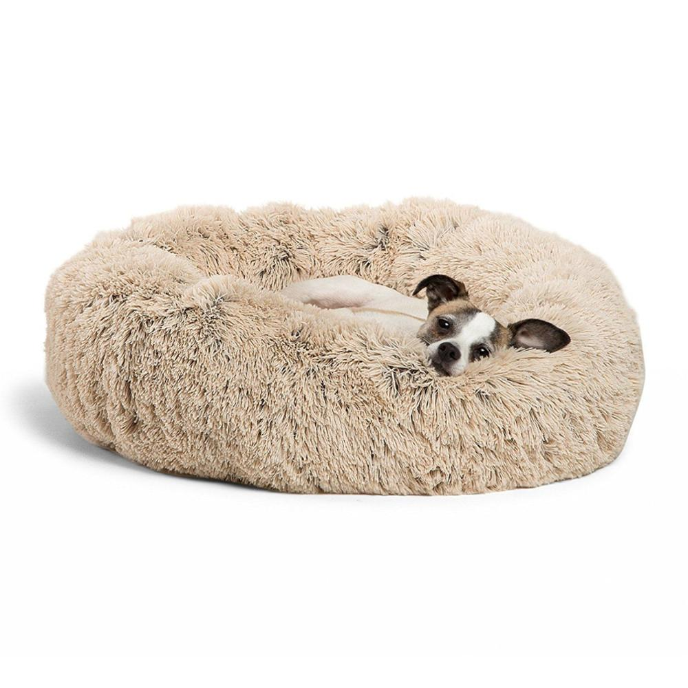 Soft Plush Round Pet Cat Bed, Faux Fur Dog Beds for Medium Small Dogs - Self Warming Indoor Round Pillow Cuddler image
