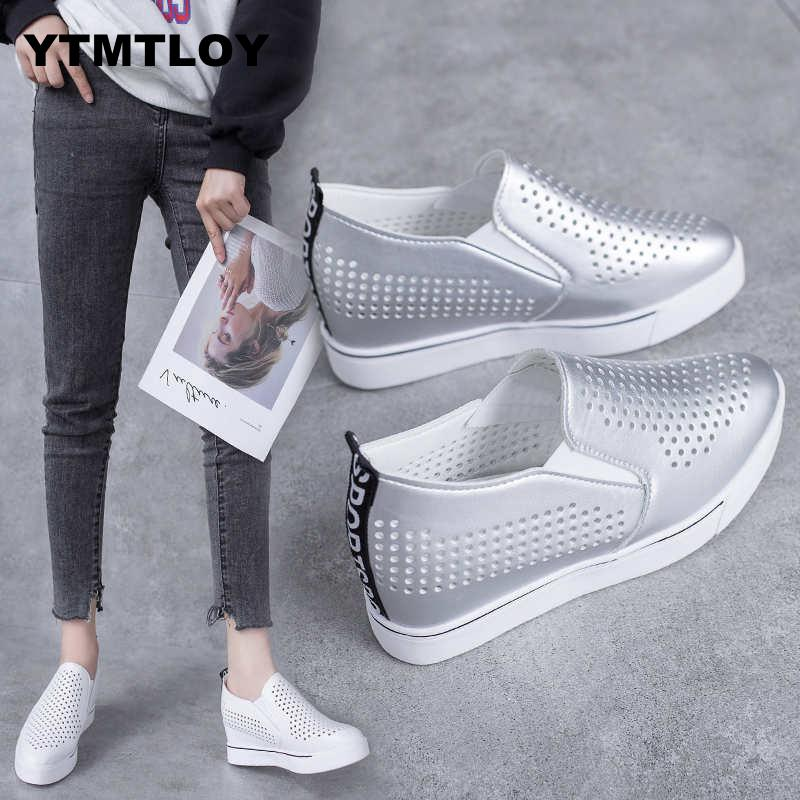 2019 Women Wedge Platform Rubber Brogue Leather Lace Up High Heel Shoes Increasing Creepers White Sneakers Sapato Hollow H5