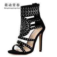 2018 New Spring Women Pumps Fashion Gladiator Thin Heels Flock High Heels Peep Toe Crystal Rhinestones