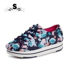 b1c2d57e2 2018 النساء أحذية رياضة قماشية عارضة الربيع الخريف سميكة سوليد حذاء قماش  الأزهار الألوان الإناث متعطل