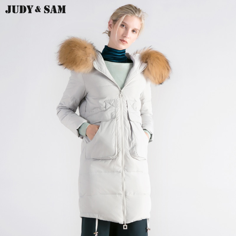 2017 Women Long Winter Duck Jacket Coat With Detachable Real Raccoon Dog Fur Collar Black/White/Pink Color Natural Fur Hood 2017 winter new clothes to overcome the coat of women in the long reed rabbit hair fur fur coat fox raccoon fur collar