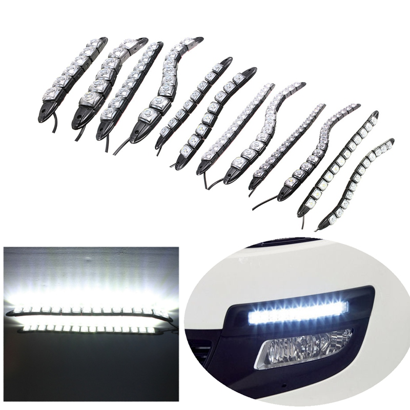 Universal 6/8/9/12/14/16 LED Super White Waterproof Flexible DRL Daytime Running Light Driving Fog Warning Lamp DC-12V