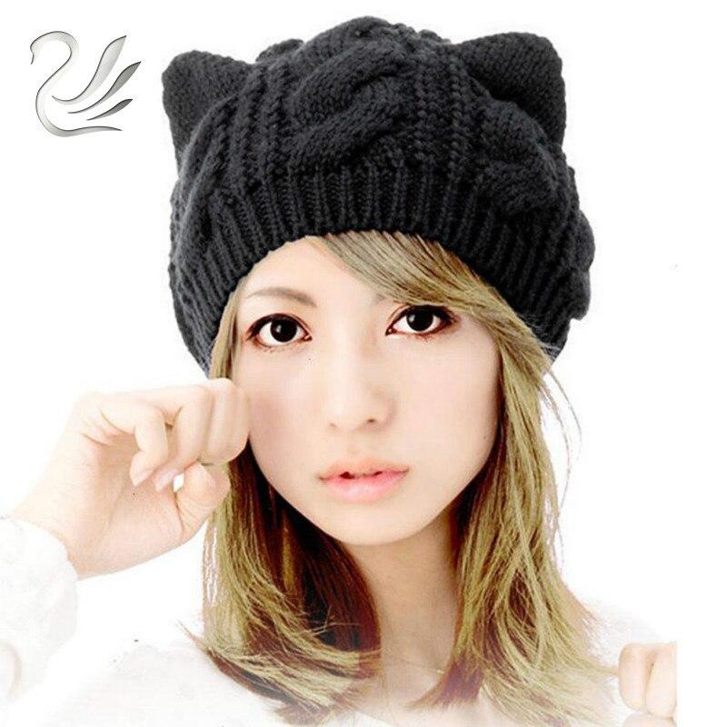 Новая мода зима-осень милые кошачьи уши шапочка конопли цветы вязаные Шапки для девочек женские Кепки женский Skullies
