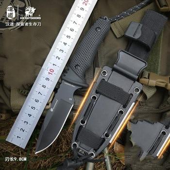 Hx 야외 서바이벌 나이프 야외 d2 강철 높은 경도 작은 직선 나이프 야외 필수 도구 자기 방어 즐겨 찾기