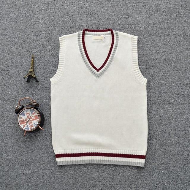 61b2badb40 British School Uniform Women Men V Neck Sleeveless Sweater Vest Preppy  Style JK Sweaters Hit Color