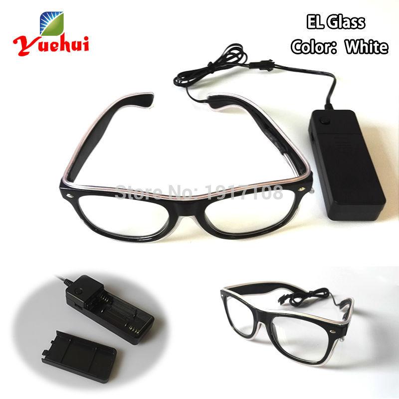 고품질 10 색상 선택 사운드 활성 LED 안경 깜박임 EL 태양 안경 2AA 배터리로 구동 댄스 파티 장식용