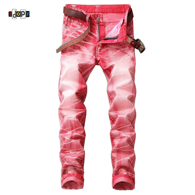 Idopy Swag Mens Designer Brand Hip Hop   Jeans   Skinny Stretch Plus Size Washed High Street Washed Slim Fit Hop Hop Pants For Men