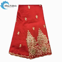Fashion Red African george Lace fabric 2017 High Quality satin george lace with sequins for women dress 5yards