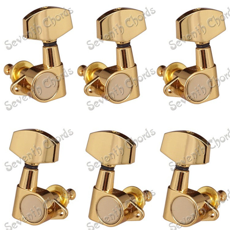 A Set of 6 Pcs Gold  Guitar Tuning Pegs Machine Heads With Big square Button Guitar parts a set chrome sealed gear tuning pegs machine heads tuners for guitar with black big square wood texture buttons