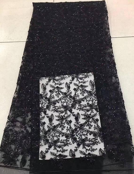 5 ярдов Черная кружевная ткань из бисера, свадебная кружевная ткань с бусинами и блестками, тяжелая кружевная ткань из бисера, кружевная тка