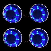 4 Pieces LED Blue Stainless Steel Cup Drink Holder with Drain & LED Blue Marine Boat Rv Camper