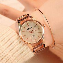 2017 Модные кварцевые часы Очаровательная Нержавеющаясталь часы-браслет Для женщин женская одежда со стразами Роскошные наручные часы Montre Femme