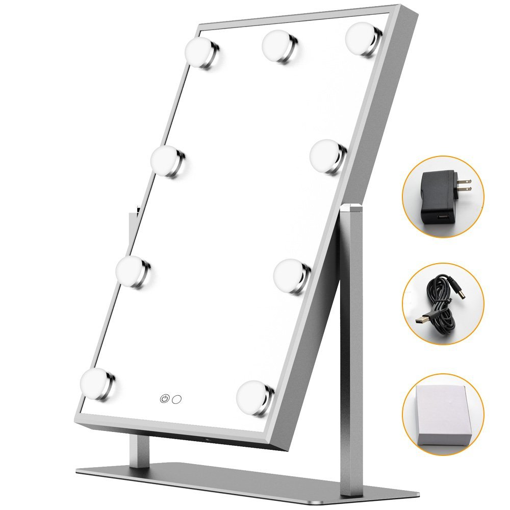 Hollywood vanity Mirror with Light Table tops Lighted Mirror with Dimmer Mirror with Lighting Adjustable Touch Screen Mirrors