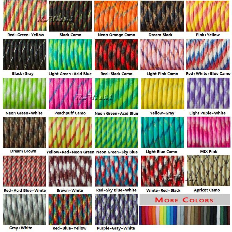 1pcs 100FT 550 Paracord Parachute Cord Lanyard Mil Spec Type III 7 Strand Core For Climbing Camping Buckles Bracelet 108 Colors(China)