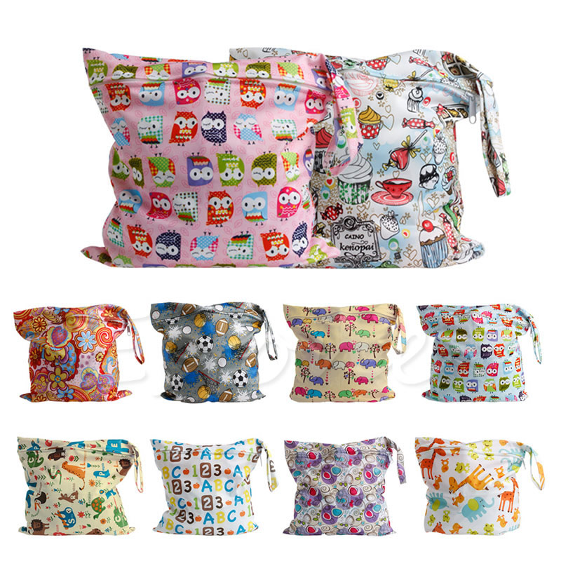 Baby Protable Nappy Zipper Diaper Bag Washable Nappy Wet Dry Cloth Waterproof