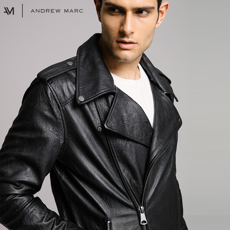 75504aed9 ANDREW MARC 2017 Top Brand Man Genuine Sheepskin Leather Jacket ...