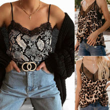 New Womens Sexy Silk Satin Camisole  V-Neck Leopard Print Vest Sleeveless Blouse Tank