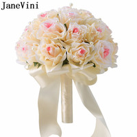 JaneVini Champagne White Bridal Flowers Bride Hand Bouquet Pearls Artificial Groom Flower Bouquet Brooch Mazzi Di Fiori 2018