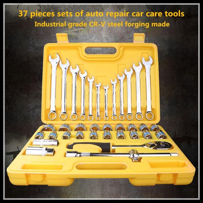 все цены на 37 piece combination sleeve tool combination auto repair tools hand tools ratchet wrench tool kit. онлайн
