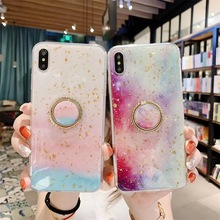 Case For iPhone Xr X Xs Max Cover Korean Shiny Sequins Ring Stand Girly Rainbow Summer Cases For iPhone X 7 8 Plus 6S Plus Cover girly case for iphone xr x xs max cover korean aurora gradient color dot skin bag cases for iphone 7 8 plus 6s case long chain