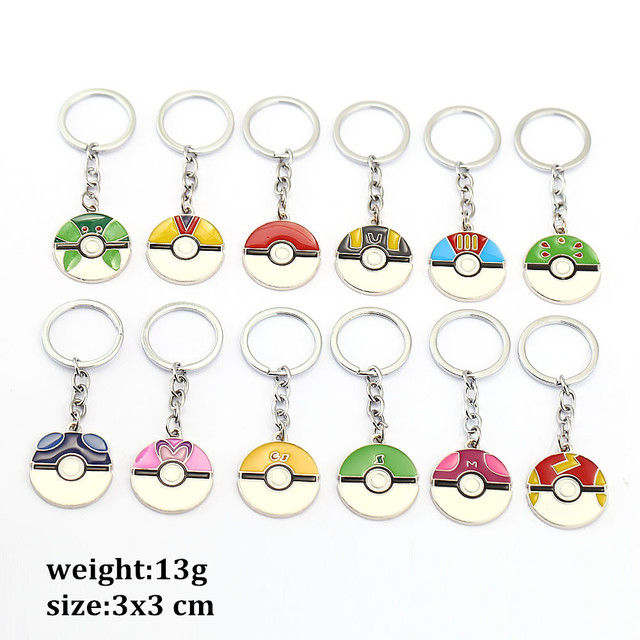 12pcs/lot New Pokemon GO Keychain  Pokeballs Key Chains gather Pendant Metal Keyring for Women and Men fans