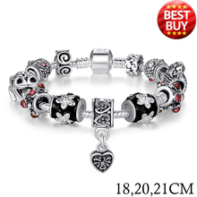 BAMOER Russia Belarus Popular Silver Heart Charm Bracelet Bangle for Women With Glass Beads Jewelry 18CM