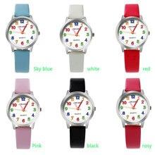 ot01 2017 Top Brand Kids Children Fashion Watches Quartz Analog Cartoon Leather Strap Wrist Watch Boys Girls