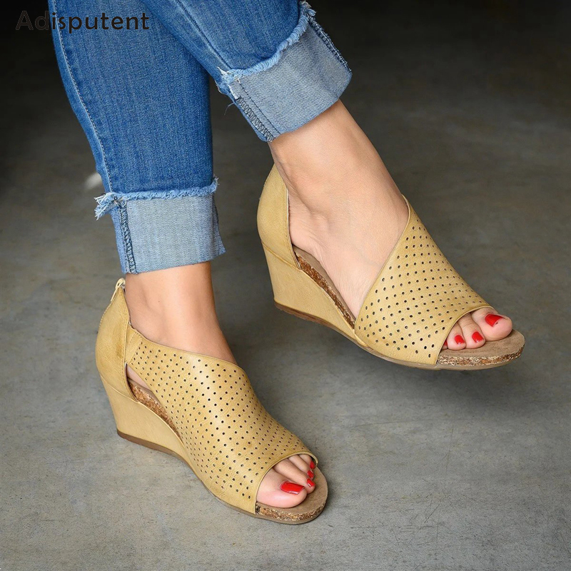 ADISPUTENT Women Summer Sandals Shoes Fashion Casual Rome Peep Toe Med Heels Square Heel Shoes 2019 Sandals Zomerschoenen Dames big toe sandal