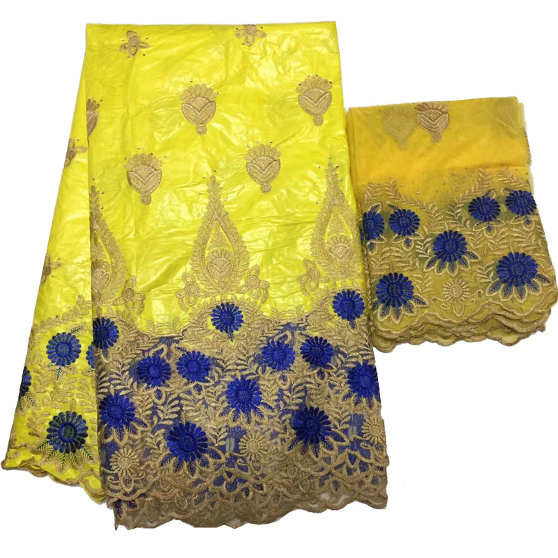 Free shipping (5+2 yards/set)  hot selling African bazin lace fabric yellow and blue with embroidery for party dress  BLS12Free shipping (5+2 yards/set)  hot selling African bazin lace fabric yellow and blue with embroidery for party dress  BLS12