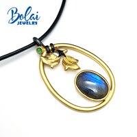 Bolaijewelry, шедевр понять листья деревьев кулон натуральный хороший блеск Лабрадорит и Изумрудный 925 Серебряный кулон ожерелье