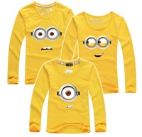 2015 Autumn Children T Shirts Minions Clothes Family Clothing Matching Mother Daughter Father Son Clothes Family