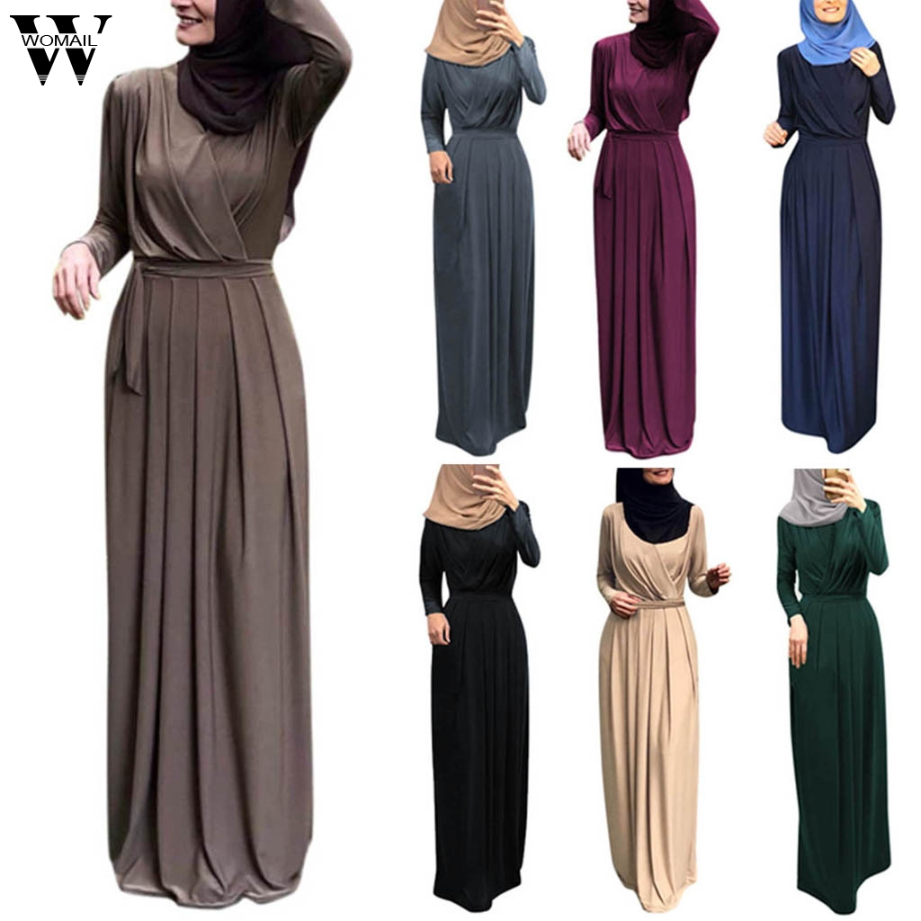 Womail Muslim Dress Women Lace Kaftan Islamic Indian Dress Long Sleeve Elegant Muslim Party Dubai Maxi Dress Fashion 2019 A9