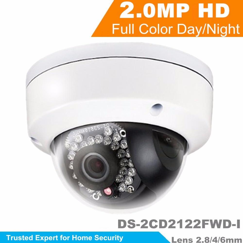 2015 Newest Multi Language IP Camera  DS-2CD2122FWD-I 2MP Mini Dome Camera 1080P POE CCTV Camera