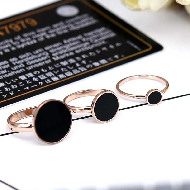 YUN RUO Top Brand Black Round Rings for Woman Girl Jewelry Rose Gold Color 316 L Stainless Steel Gift Top Quality Never Fade