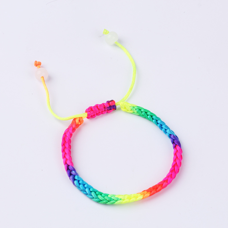 Tibetan Buddhism Lucky Bracelet Multicolored Candy Rainbow Knitted Knotted Braided Red Rope Bracelet Childrens Hand Chain