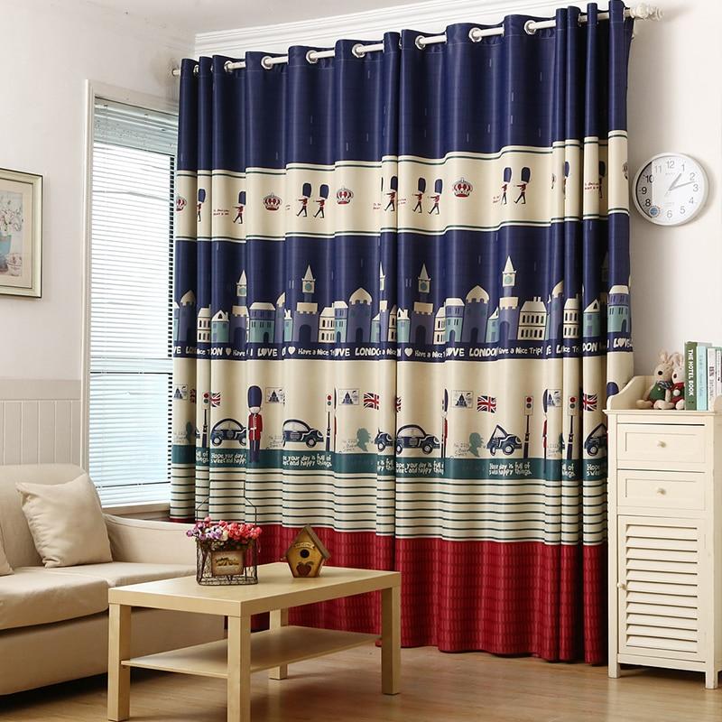 Cartoon London Design Curtains For Boy S Bedroom Living Room Kids