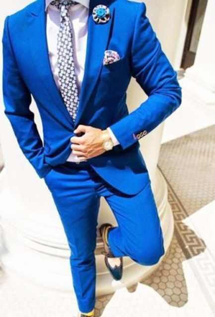 TPSAADE 新ファッションロイヤルブルーメンズ 2 ピース (ジャケット + パンツ + ネクタイ + ハンカチ) 結婚式新郎タキシード介添人パーティースーツブレザー