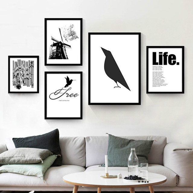 Northern europe black white canvas painting simple creative alphabet decorative paintings no framed qy002