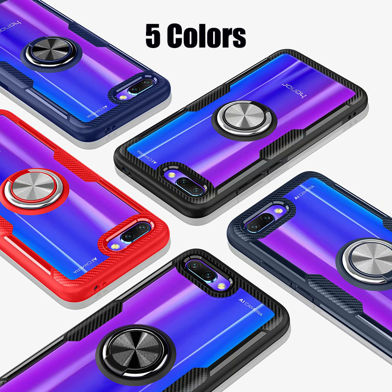 HTB1z2IfX4 rK1RkHFqDq6yJAFXat Finger Ring Kickstand Case for Huawei Honor 10 7X Play TPU Bumper Car Magnetic Acrylic Case PC Hard Cover for Honor 7X 10 Coque