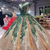 modabelle Green Flowers Ever Pretty Gold Evening Dress Robes De Soiree Longue Appliques Sequin Evening Dress With Shoulder Chian