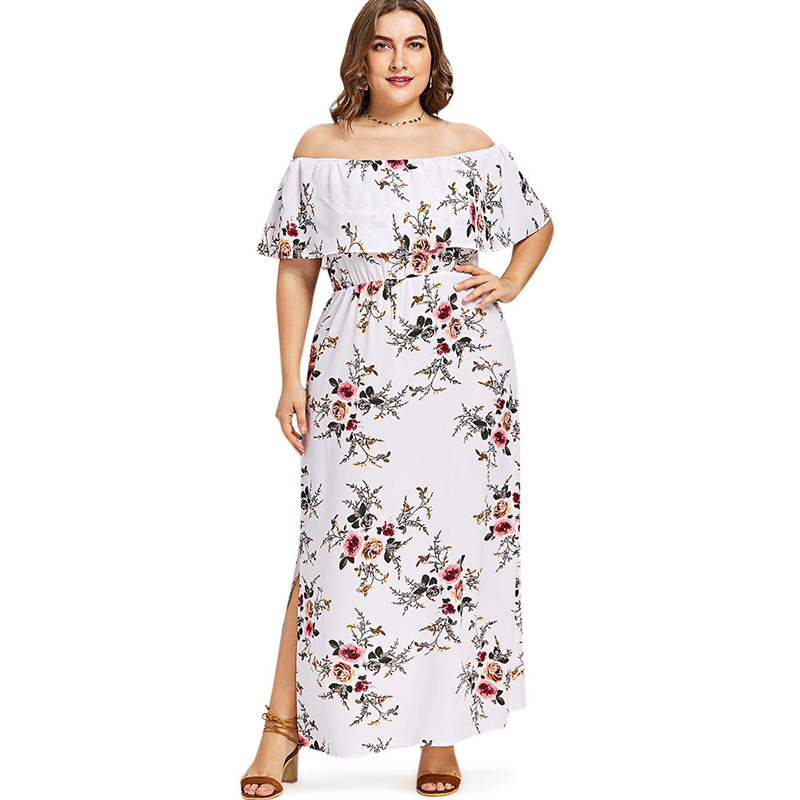 fe165a307b4a PlusMiss Plus Size 5XL Split Flower Floral Print Boho Beach Maxi Long Dress  Summer 2018 Tropical Off the Shoulder Party Dresses