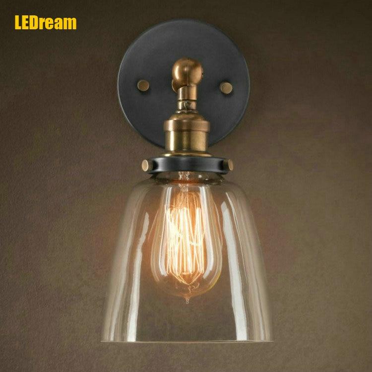 Loft vintage industrial edison glass shade loft coffee bar for Diy wall lamp shade