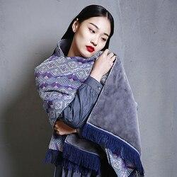 MENOGGA 100% Handgemaakte Kasjmier Sjaal Pashmina Pure Wol Chinese Brocade Patroon Dikke Warme Luxe Winter Sjaal Voor Vrouwen 2019