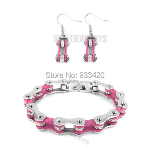 Free shipping!Bling Silver & Pink Bicycle Chain Motor Earring and Bracelet Stainless Steel Jewelry Motorcycle Biker Set SJB0148S