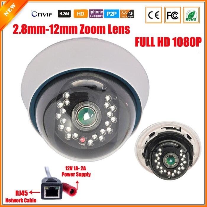 imágenes para Full HD 1080 P 3X Zoom Varifocal Lente 2.8-12mm Cámara IP 21 Filtro de Corte IR de Detección de Movimiento IR LED ONVIF Varifocal Cámara de 2MP IP