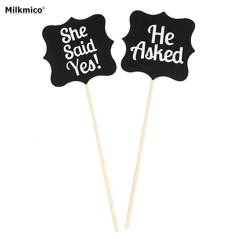 Milkmico Creative Blackboard Wedding Decoration on Birthday Party Funny Pictures DIY Holding Card Wedding Photo Props Supplies