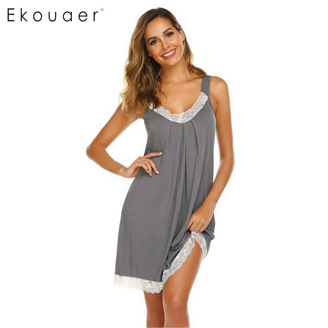 Ekouaer Sexy Lace Nightgown Women Summer Sleepwear V-Neck Slip Lounge Nightdress Ladies Lingerie Homewear Night Dress