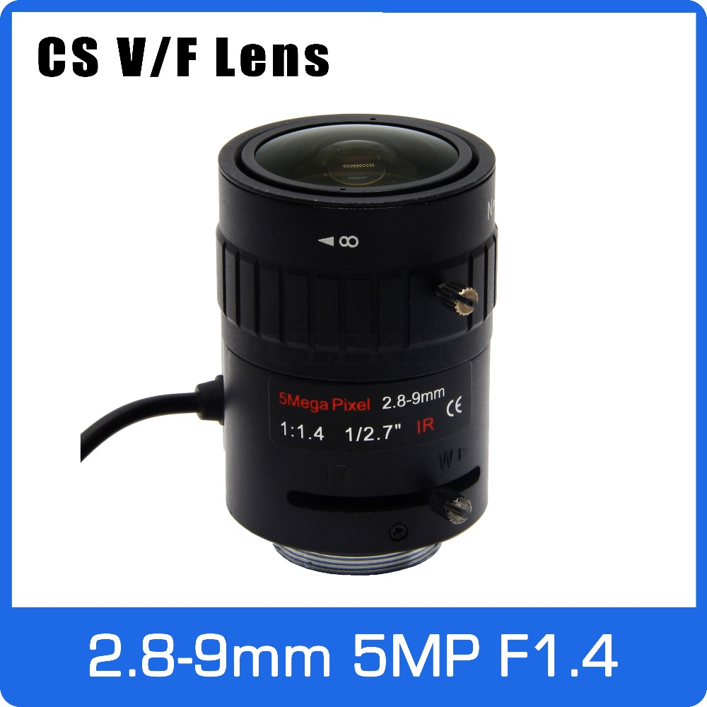 5 mégapixels Starlight F1.4 DC AUTO IRIS CS Mont Objectif CCTV À Focale Variable 1/2. 7 pouce 2.8-9mm Pour Starlight/5MP Boîte Caméra